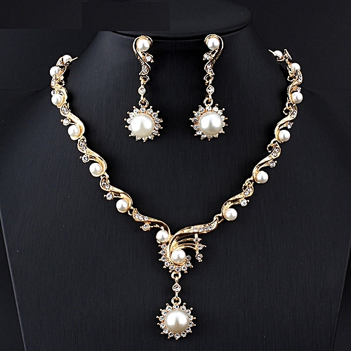 ca191bf34bf dk New fashion African Women jewelry sets for women Pearl necklace earrings  gift Gold