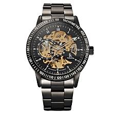 Kobwa Montre Femme Marque De Luxe IK Colouring Men Allochroic Glass Skeleton Auto Mechanical Watch Wristwatches(Black&Gold)