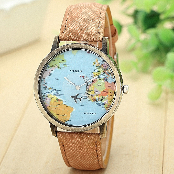 Tectores New Global Travel By Plane Map Women Dress Watch Denim Fabric Band CO
