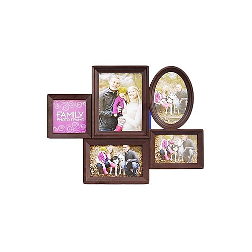 Buy EMA Shaped Family Photo Frame - 5 Portion - Brown @ Best Price ...