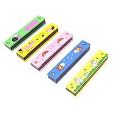 Wooden Harmonica-Kids Cartoon Pattern Toy Harmonica Musical Instrument - Random Color