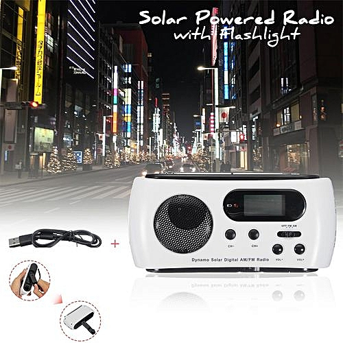 Emergency Solar Hand Crank LED Flashlight AM FM NOAA Weather Radio Charger  Torch