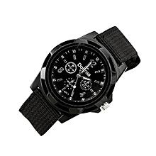 Olivaren Men's Fashion Sport Braided Canvas Belt Watch Analog Wrist Watch BlackBlack