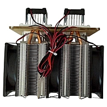 12V DIY 12A 144W Electronic Semiconductor Refrigerator Radiator Double Head Kit Black