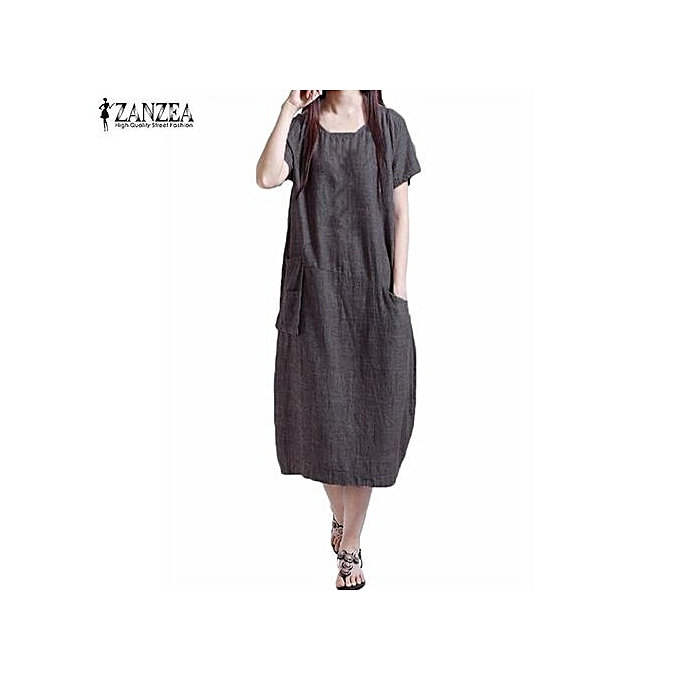 3ac59b402c8f ZANZEA Summer Womens Musilm Linen Dress Casual Loose Short Sleeve O-Neck  Dresses Vestidos (