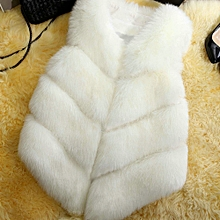 Women Fluffy Warm Outerwear Chic Coat Jacket Hairy Woman Waistcoat - White