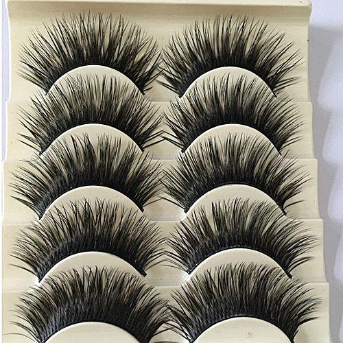 69fd84b69a3 Generic 5 Pairs Women Soft Handmade Natural Longlasting Fake Eye Lashes  Handmade Thick False Eyelashes Eye Makeup Extension Tools