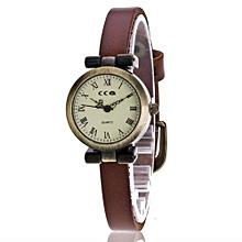 Lady  Leather Wrist Watch CCQ Vansvar Women's Casual Quartz Leather Band Newv Strap Watch Analog Wrist Watch-Coffee