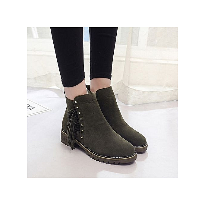 c1732941791b bluerdream-Womens Boots Female Short Booties Ankle Boots Winter Martin Boots  Shoes -Army Green