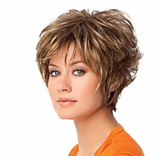 Fashion Short Curly Brown Women Hair Wig Dyed Synthetic Lady Cosplay Hairpiece