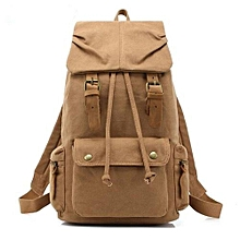 AUGUR Canvas Backpack Straw String Outdoor Mountain Travel Bag Washed Canvas Bag With Leather Camping Rucksack Men Women Black(Tan)