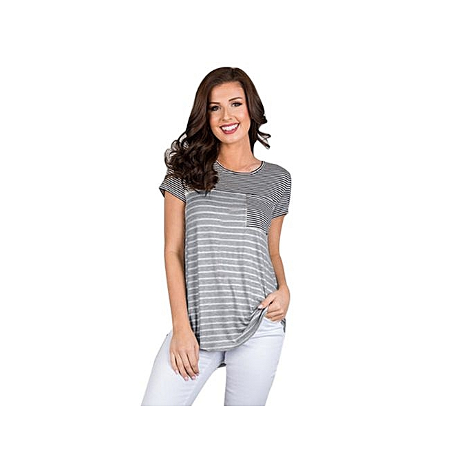 498925b401 Hiaojbk Store Women Short Sleeve Striped Pocket Casual T Shirt O Neck Vest  Tops Casual Blouse