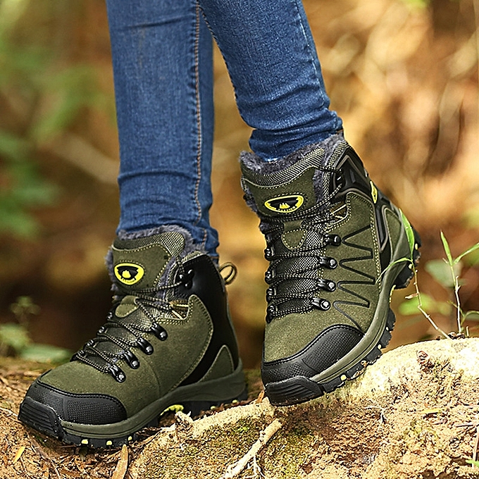 22685d4b909 Winter Women Hiking Mountain Climbing Shoes Waterproof Fleece Warm Up  Trekking Shoes Outdoor Shoes Anti-skid Breathable - dark green