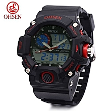 Digital Watch + Dual Movt Quartz + Chronograph Calendar + Alarm + Luminous-RED
