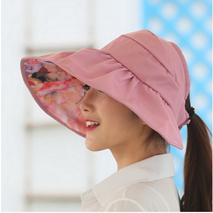 0009f1820 wide brim summer hats for women sun hat reversible UV protection floral  beach cap sombrero visor sunhat for lady female(dark pink)