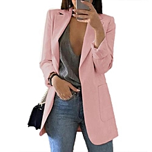 b9bf1914c82 Women Clothes Slim Tops No Button Coat Blazers Pink