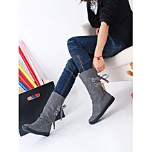 Ladies Womens Low Wedge Buckle Biker Ankle Trim Flat Ankle Boots Shoes- Gray -CN SIZE