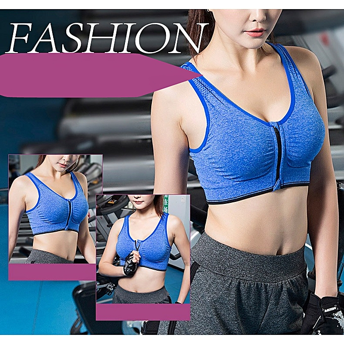 8385fe08cc416 Women Zipper Sports Bra For Fitness Yoga Running Crisscross Breathable Sport  Brassiere Push Up Padded Wire