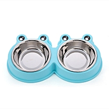 Frog Shape Case Resin Stainless Steel Combo Dog Bowl Anti-skid Double Pet Bowls