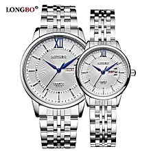 [2 Pack] 80079 Leisure Couple Watch Roman Numral Dial Date Calendar Men Women Watches Stainless Steel Strap Wristwatch - White