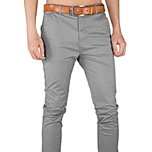 Soft Khaki Trouser Stretch Slim Fit  Casual- Light Grey