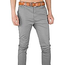 937d838f Soft Khaki Trouser Stretch Slim Fit Casual- Light Grey