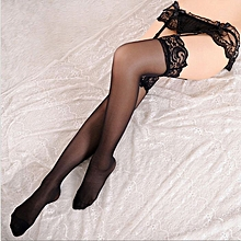6c7ec5ee15c Women Sheer Lace Top Thigh-Highs Stockings Garter Belt Suspender Underwear  Set