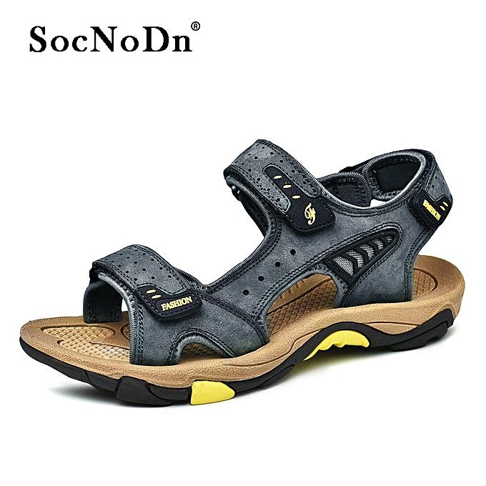039b20ef0 SocNoDn Men Casual Fashion Leather Summer Beach Sandals Shoes Black ...