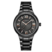 Black Waterproof Women Luxury Quartz Movement Bracelet Brand Wristwatch