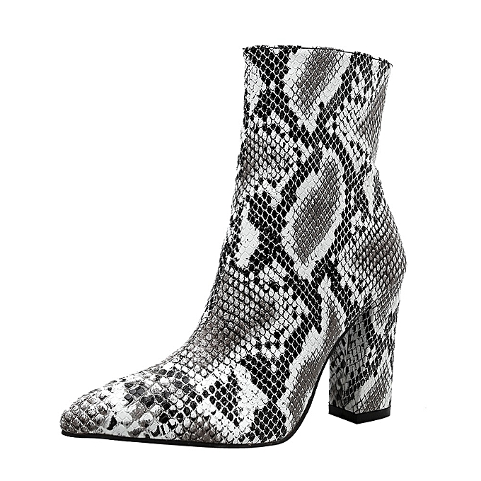 e89010fe5fd Fashion Xiuxingzi Women Snakeskin Leopard Toe Zip Thick Pointed ...