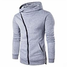 Men Zipper Hooded Coat Outwear Sweater Casual Shirt T-shirts Hoodie Tops GY/M-gray