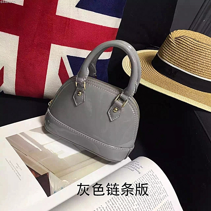 Grey Chain Version Mini Patent Leather Handbags Shell Bag Simple Messenger Small