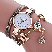Xiuxingzi_Fashion Women's Ladies Faux Leather Rhinestone Analog Quartz Dress Wrist Watches - Grey