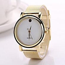 Hot Fashion Women\'s Elegant Round Golden Alloy Belt Wrist Watch-White