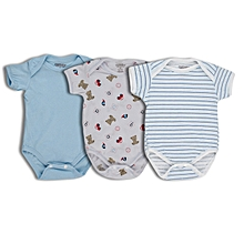 3 Pieces set of Blue Short sleeved Body Suits .
