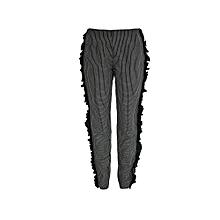 Checkered Ruffle Cigarette Pants