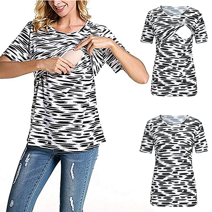 41596c1c Women Maternity Zebra Print Short Sleeve Pregnancy Nursing Baby Tops T-shirt