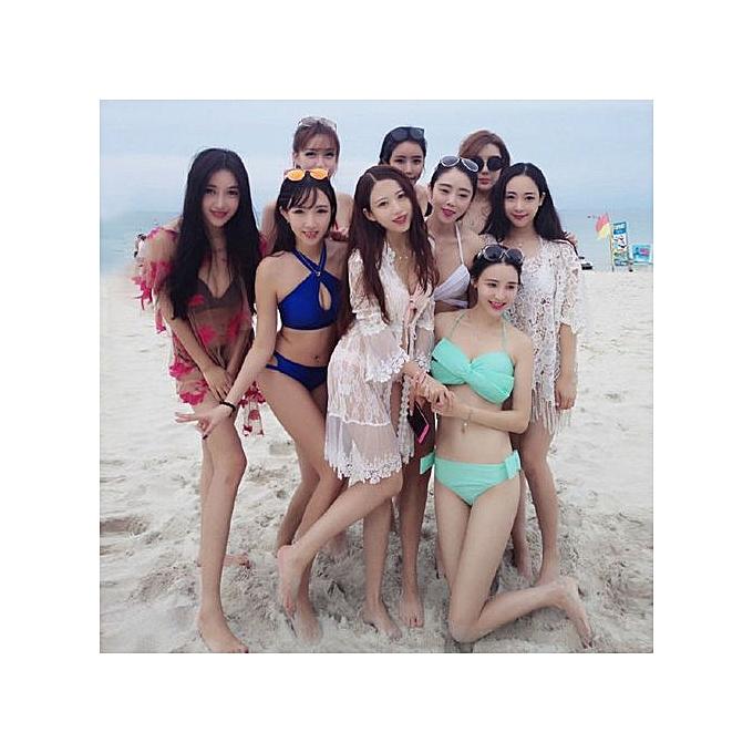 c2442adf2828a Xingbiaocao Women Swim Wear Solid Swimwear Bikini Big Bowknot Beach Wear Push  Up Swimsuit -Blue
