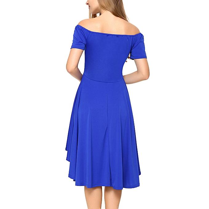 ... Women Off Shoulder Short Sleeve High Low Skater Dress Royal Blue L ... 3efcfc8b3