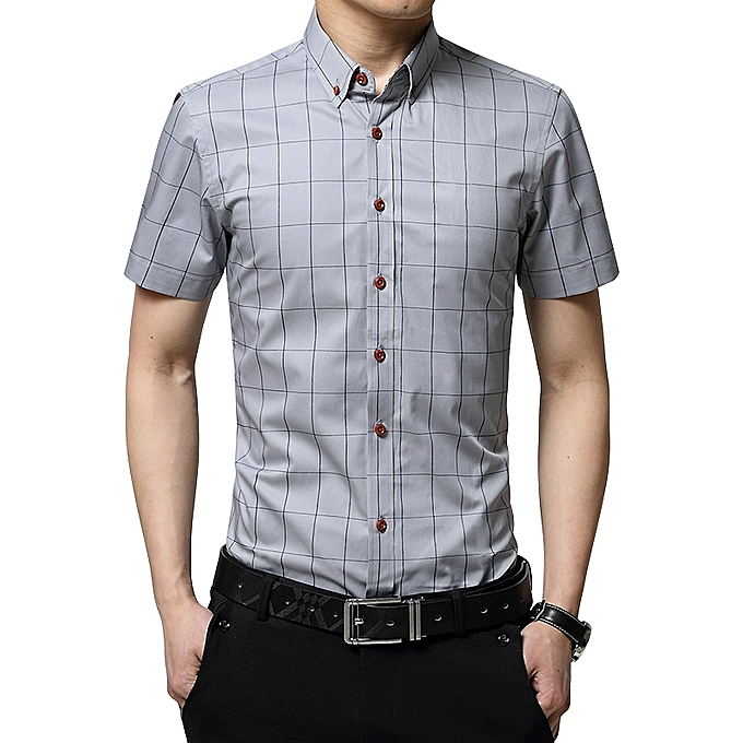 57e05fc01ea6 2019 Men s Short Sleeve Shirt Summer Business Formal Casual Plaid Checked  Top T Shirt-Grey