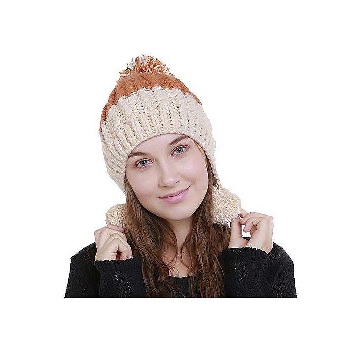 4d1234d6576 Wenrenmok Store Women s Knit Wool Color Block Warm Beanie Winter Hat Ski  Crochet Cap Pom Pom
