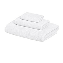 3 pc Bath Towel - 70cm x 140cm, 1 Hand Towel 40cm x 80cm, 1 Face Towel 30cm x 30cm- White