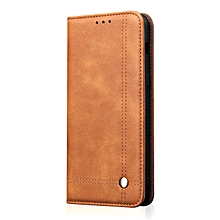For OnePlus 6T Case, Premium Retro Leather Magnetic Card Holder Case Shockproof TPU Inner Flip Stand Cover For OnePlus 6T/1+6T 134818 (Brown)