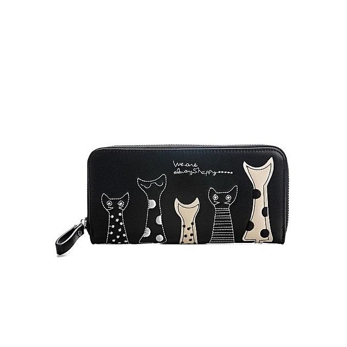 7251bc4e4d27 Europe Women Cat Cartoon Wallet Long Creative Female Card Holder Casual Zip  Ladies Clutch PU Leather Coin Purse ID Holder