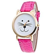 Cat Face Pattern Leather Band Analog Quartz Vogue Wrist Watch Hot Pink