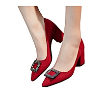 Red Pointed Toe Square Block Heels-Square Embellishment