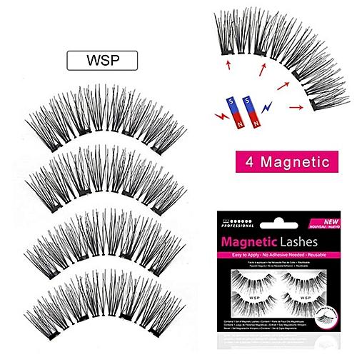 c3f72369368 Magnetic Eyelashes With 4 Magnets Handmade 3D Natural Long New 4 Magnetic  Eyelashes Long Lasting False