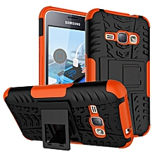 "For Galaxy [J1 2016] Case, Hard PC+Soft TPU Shockproof Tough Dual Layer Cover Shell For 4.5"" Samsung J120, Orange"