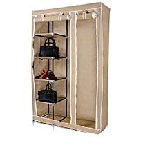 2Column Portable Wardrobe - 110*46*175cm - Brown