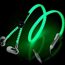 Glow In-Ear Luminous Light Metal Zipper Earphone Glow In The Dark Headset For Iphone Samsung White